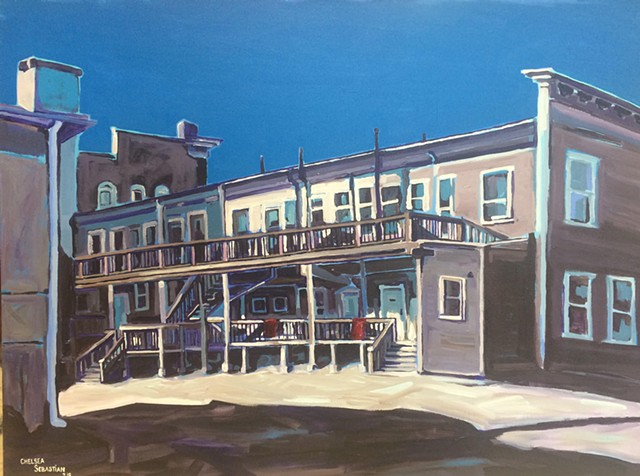 painting Chelsea Sebastian wellesley art urban porch winter light building architecture