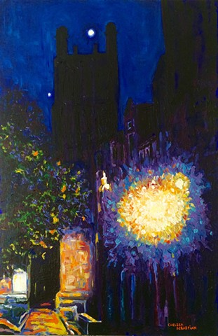Tower Wellesley blue Chelsea Sebastian painting art colorful light moon night college
