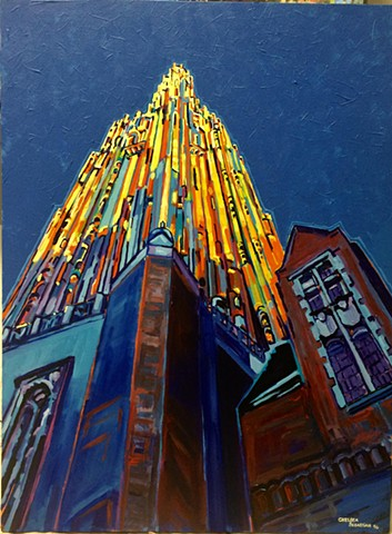 Wellesley College Galen Stone Tower Painting Color Spire Bell Chelsea Sebastian Blue Yellow Art