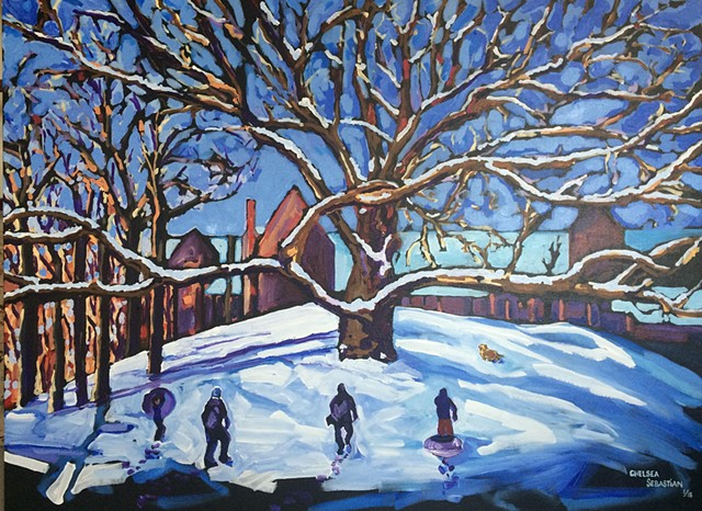 oak winter sledding art painting chelsea sebastian snow dog family hill severance hill white oak wellesley college winter