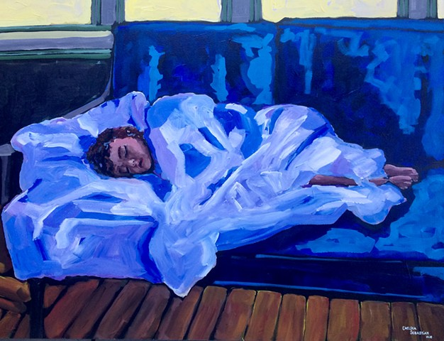 Chelsea sebastian art fine painting color child sleeping blue yellow