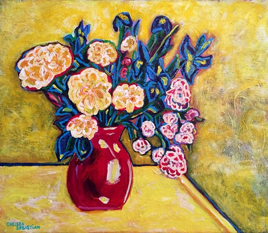 yellow blue iris roses flowers red vase colorful bouquet sunshine acrylic chelsea sebastian