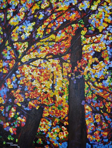 Trees fall art chelsea sebastian color sky yellow autumn