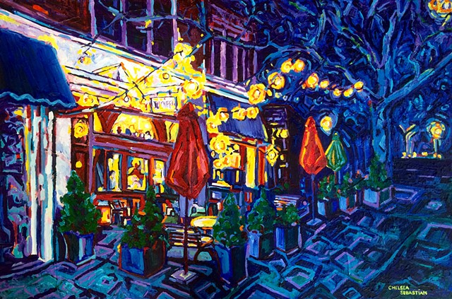 Cafe colorful Wellesley Chelsea Sebastian painting fine art lights tree blue yellow