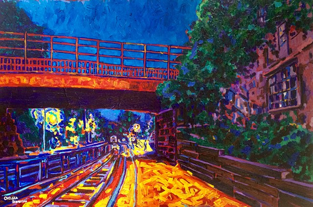 Train Wellesley art painting colorful Chelsea Sebastian yellow blue dawn art