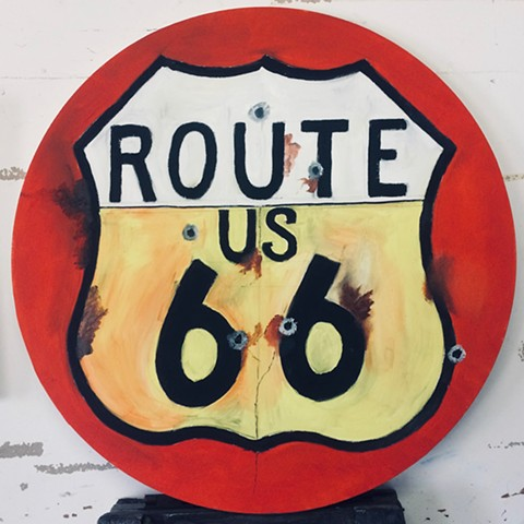 Route 66 with bullet holes
