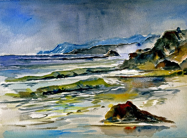 Watercolor,Dunmore East, Waterford, Ireland,storm