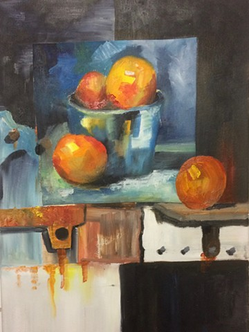 Still life with fruit and rusted steel