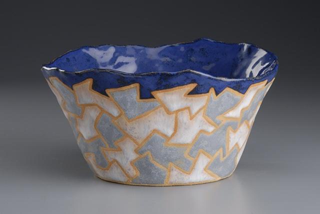 pinch pot bowl mosaic glaze ceramic