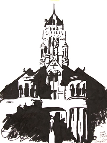 """Sketch of Ellis County Courthouse"""