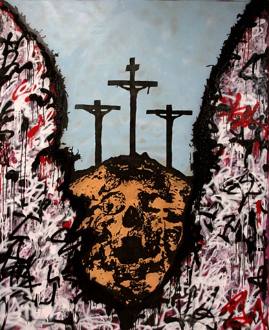 "crucifiction Mark 15: 22 They brought Jesus to the place called Golgotha (which means ""the place of the skull"")."