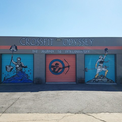 Artwork, Lettering and Logo work for Crossfit Odyssey in Dallas, Texas.