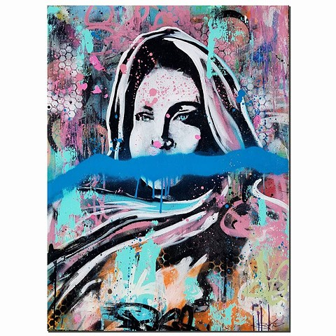 """Quenched, John 4:13-15"" Aerosol and Oil on Canvas. 40in x 30in. (Woman at the well)"