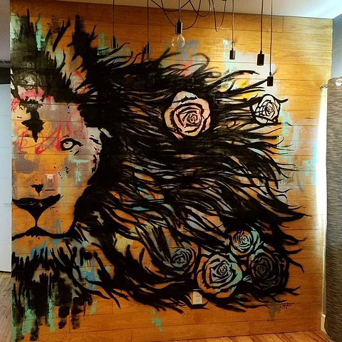 Interior Lion Mural for Art Collector in Dallas, Texas.