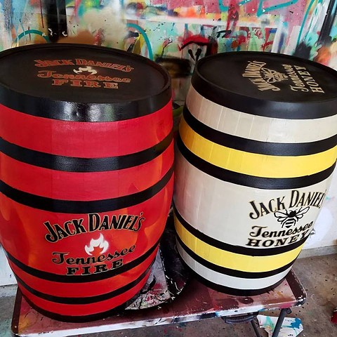 Jack Daniel's Tennessee Fire and Tennessee Honey Barrels