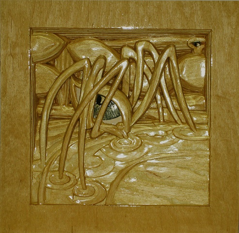 """On Golden Pond"", enamel and varnish on baltic birch plywood."