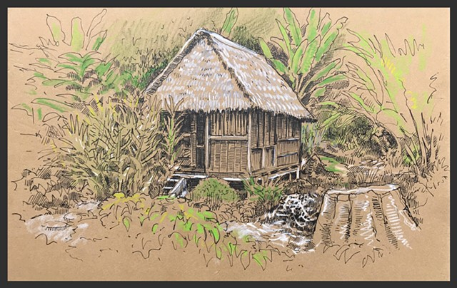 Travel Drawing: Chuncho Lodge, Puerto Maldonado, Peru