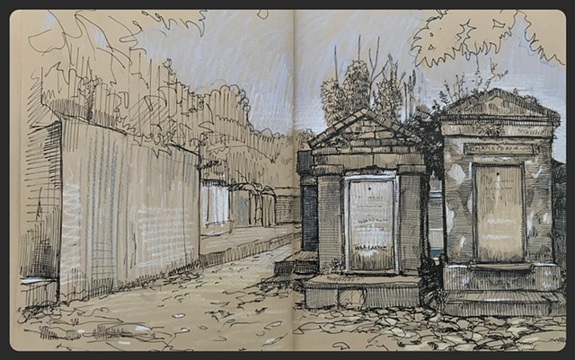Travel Drawing: Lafayette Cemetery #1, New Orleans, LA, USA
