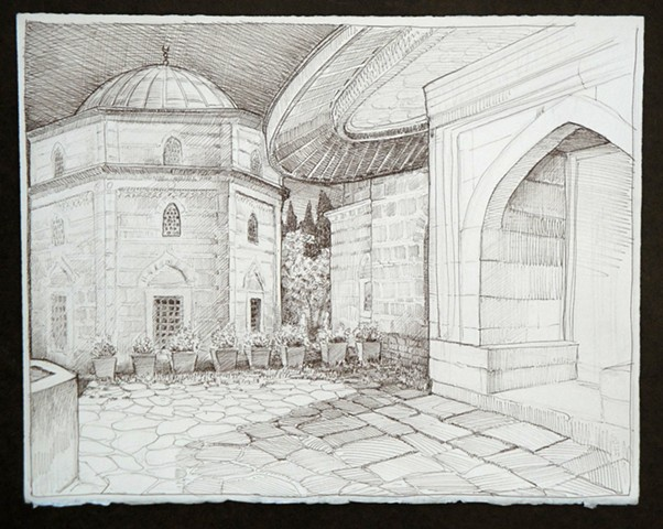 Travel Drawing:  Muradiye Complex,  Bursa, Turkey