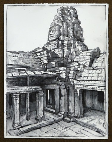 Travel Drawing: The Bayon, Cambodia