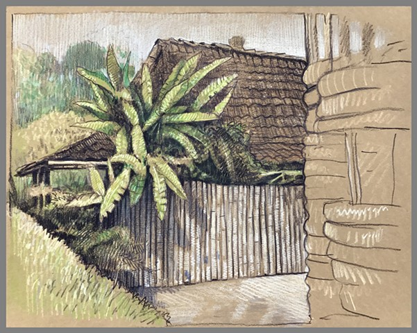 Travel Drawing: Yabbiekayu Bungalow, Yogyakarta, Java, Indonesia
