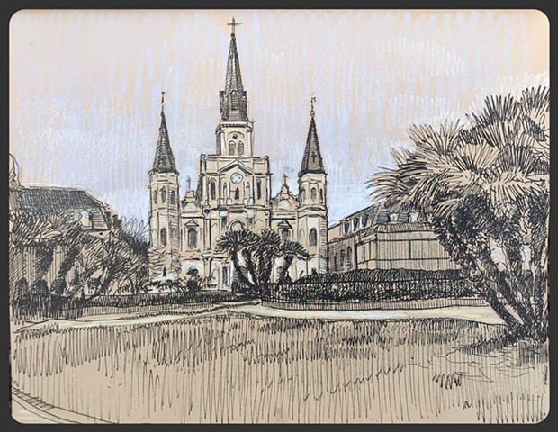 Travel Drawing: Jackson Square, New Orleans, LA, USA