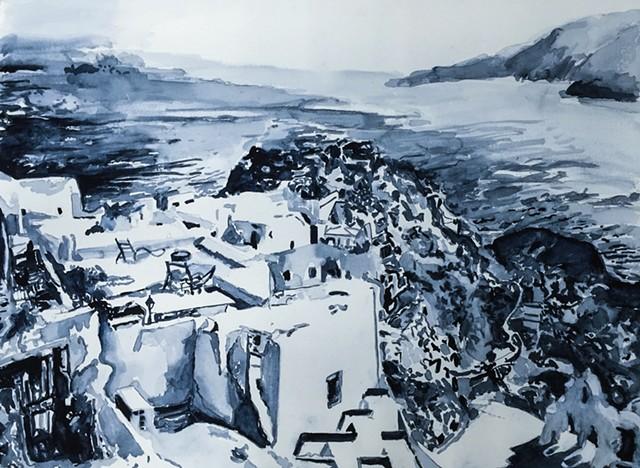 Santorini Drawing