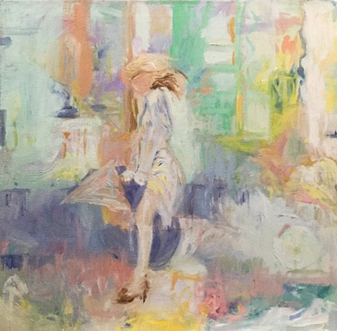 Abstract expressionistic painting of woman walking with an umbrella
