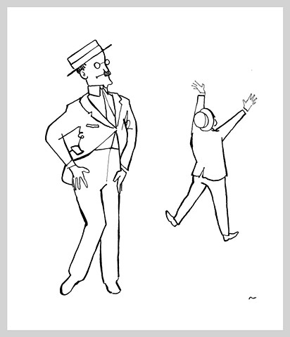 ink drawing brush pen original art illustration james joyce jump sexy dance funny