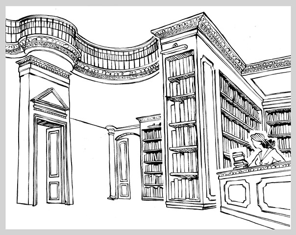 ink drawing pen library books interior architecture stacks shelves learning original art illustration