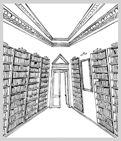 ink drawing pen library books interior illustration architecture stacks shelves learning original art
