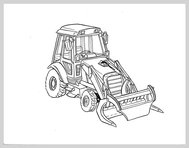 ink drawing brush bulldozer logger machine heavy truck original art illustration