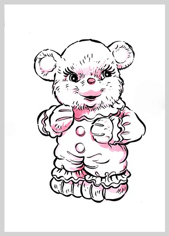 ink drawing brush bear children toy kid original art illustration