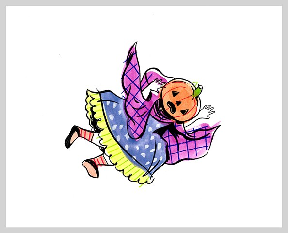 ink drawing brush pumpkin halloween vintage girl falling original art illustration