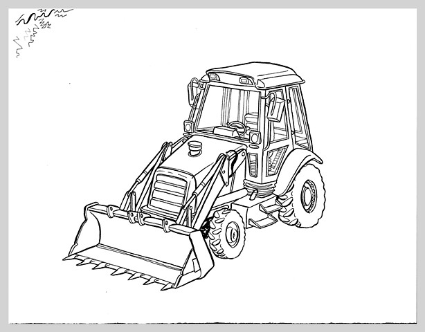 ink drawing brush bulldozer machine heavy truck original art illustration