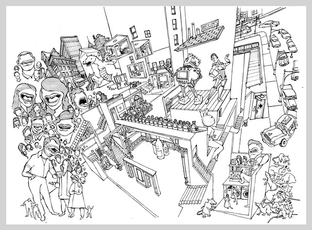 ink drawing brush theater city robot godzilla dinosaur urban busy bustling taxi streets architecture illustration audience fantasy original art