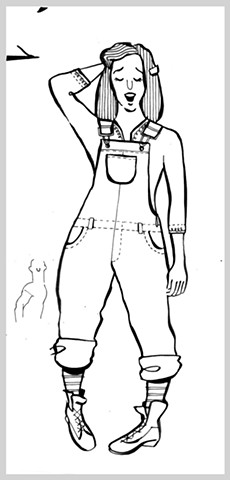 ink drawing brush costume girl overalls sing original art illustration