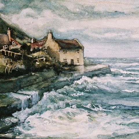 Watercolour painting of cottage, sea, waves and sky at Runswick Bay, North Yorkshire, by Vyvyan Green