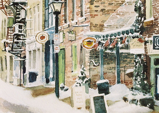 Snow scene, York Street, Stratford, Ontario