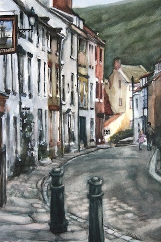 Art Card of a Watercolour by Vyvyan Green of theHigh Street, Staithes, North Yorkshire