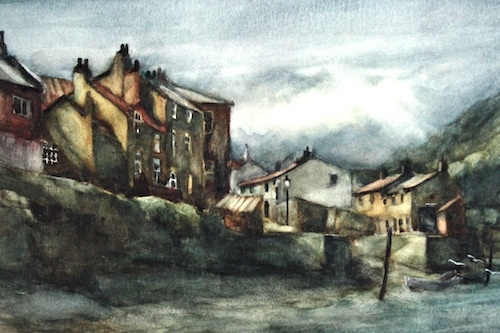 Art Card of a Watercolour by Vyvyan Green of cottages beside Staithes Beck, North Yorkshire.