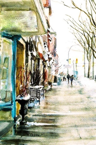 Art Card from a Watercolour by Vyvyan Green of a street scene of Ontario Street in Stratford, Ontario.