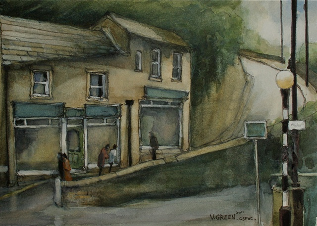 Watercolour painting of stone cottages, hill, reflections in Rotcher Road, Holmfirth, West Yorkshire,  by Vyvyan Green