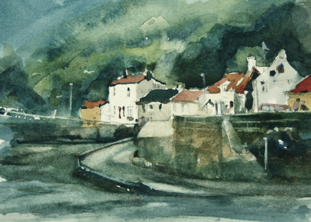 watercolour painting by Vyvyan Green of Cowbar and cottages in Staithes, North Yorkshire.