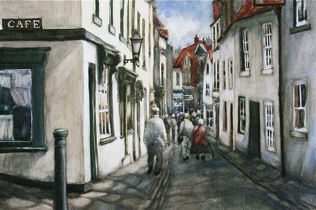 Watercolour painting of street scene with cottages, shops and people in Church Street, Whitby, North Yorkshire, by Vyvyan Green