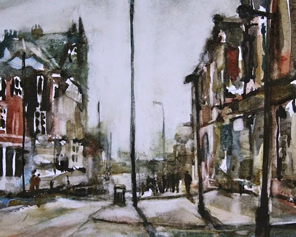 street scene of Westgate in Wakefield, West Yorkshire. England