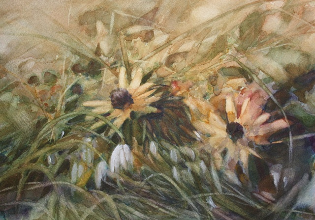 Flowers - Daisies and snowdrops, Watercolour