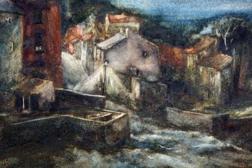Art Card of a Watercolour by Vyvyan Green of cottages in Staithes, North Yorkshire, by night.