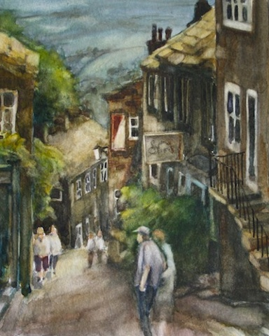 Art Card of a Watercolour by Vyvyan Green of a street scene in Howarth, Yorkshire.