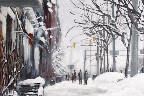 Art Card from an acrylic painting by Vyvyan Green of Ontario Street, Stratford. Ontario.